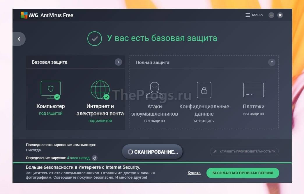 AVG Antivirus интерфейс программы