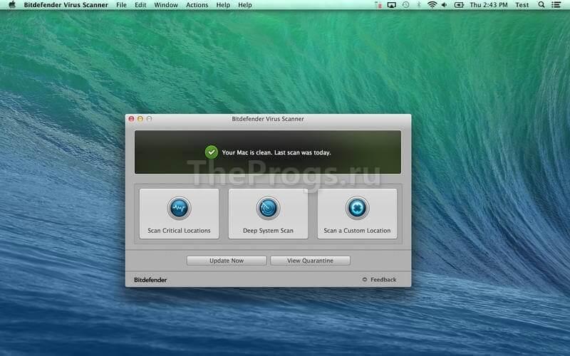 Bitdefender Antivirus MAC OS interface фото