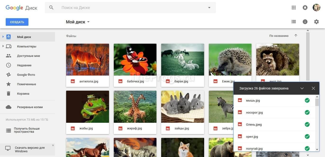 Google Диск скриншот программы (фото)