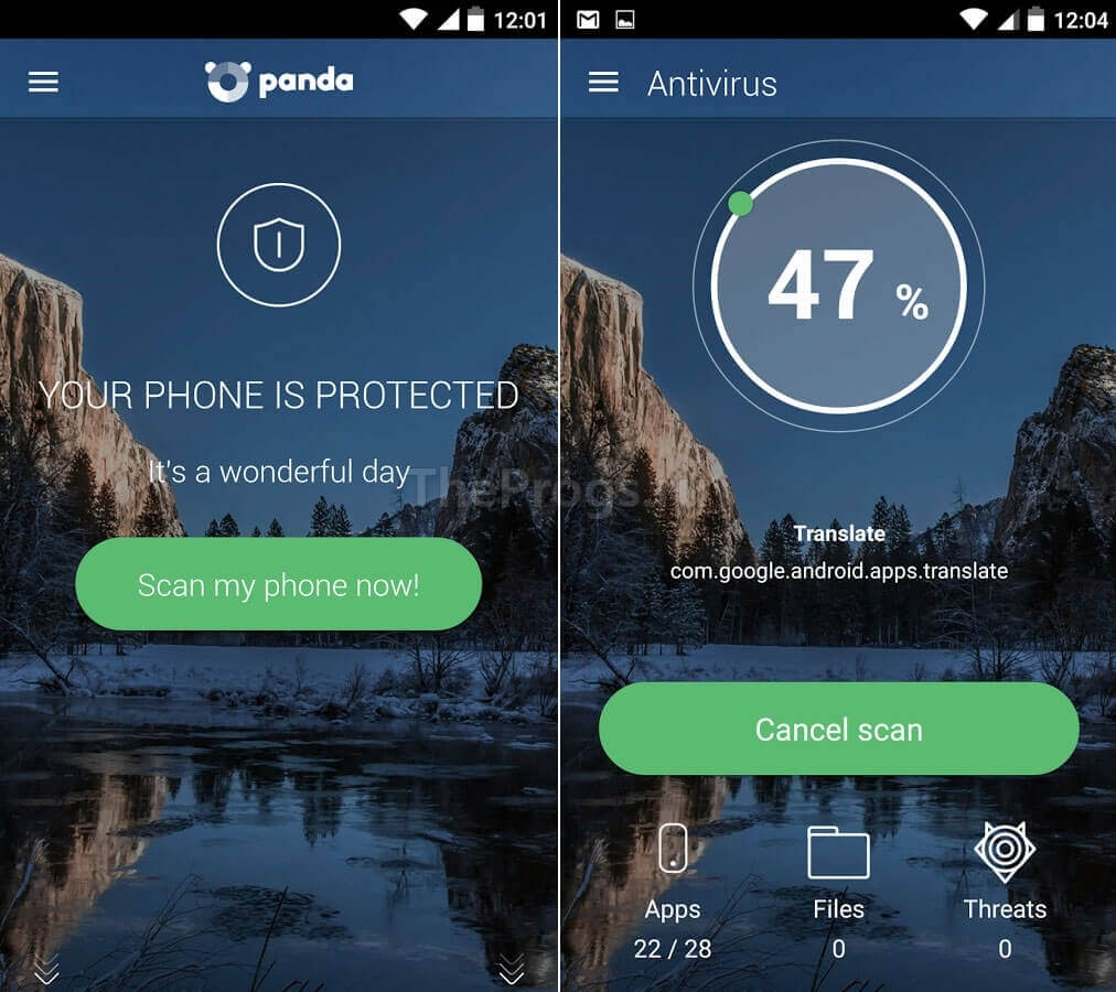 Panda Antivirus интерфейс Android скачать фото